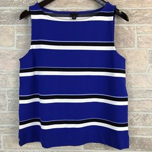 Ann Taylor Striped Shell Tank Top M Blue Black
